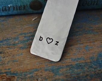 Couples Initials Bookmark, Personalized Bookmark, Stamped Bookmark,Anniversary Gift, Boyfriend Gift, Girlfriend Gift, Gping Away, I love you