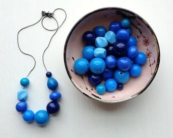 blues before sunrise necklace - vintage lucite - remixed