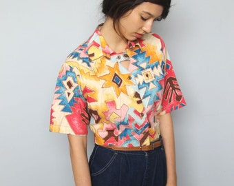go west -- vintage 80s cotton cropped button up top with cut-out details M