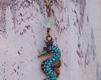 Seahorse Necklace Recycled Seaglass Turquoise Seahorse Rhinestone Seahorse Beach Jewelry Boho Necklace Nautical Jewelry