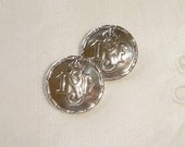 2 Old Danish Silver Buttons with Initials - small back marked Silver Buttons CH 826