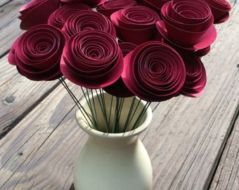 Beautiful DARK RED Rolled Paper Flowers, Spiral Paper Roses (20) - Wedding, Shower, Party/Table decoration, Home/Office, Centerpiece, Gift