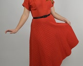 Red Cocktail Swing Dress 50's Fancy Dress with  Quilted with Rhinestones Wonderful for Valentine's Dress or  Prom Dress