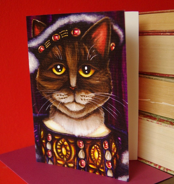 King Henry VIII Cat Card, Tudor Cats 5x7 Blank Greeting Card