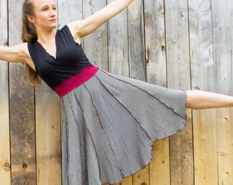 Pele V-Neck Pixie Dress - Organic Fabric - Made to Order - Choose Your Colors - Eco Fashion - Boho Chic - Color Block