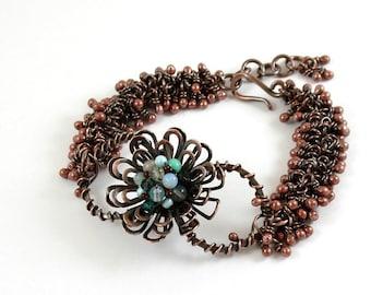 Copper Flower Bracelet,Dangle Bracelet, Wire Wrapped, Handcrafted