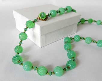 Miriam Haskell necklace, vintage jewelry, green glass beads, vintage designer necklace, mid century jewelry, 1950s