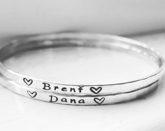 Yours Alone Personalized Bangle | Hand Stamped Handmade Sterling Silver Name Bangle Bracelet