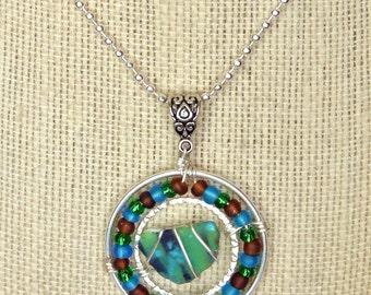 Sea Glass Pendant and Necklace with Multi Colored Flash Sea Glass