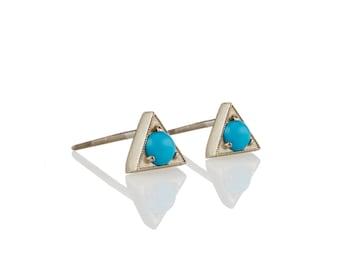 Turquoise Stud Earrings: 14K/18K Gold Triangle