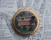 Caravan, Original, Miniature Art, Round, 4 x 4, Gypsy Wagon, Vardo, Red, Gold, Boho
