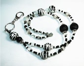 Black and White Zebra Striped Beaded Lanyard with Lobster Clasp, Magnetic Break-away Badge Reel Lariat