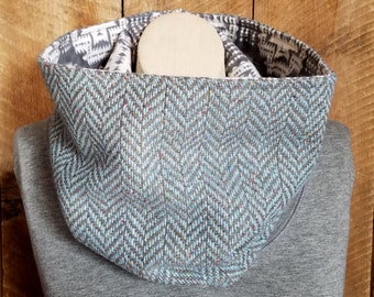 Herringbone Cowl with Aztec Lining Gray and Blue Bohemian Fashion Fall Fashion Boho Scarf Gift for Her Outerwear Wool Cowl Flannel Cowl