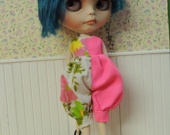 Neon Pink & Vintage Floral Romper for Blythe doll