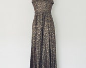 Vintage Black & Gold Long Brocade Sleeveless Formal Maxi Dress - S/M