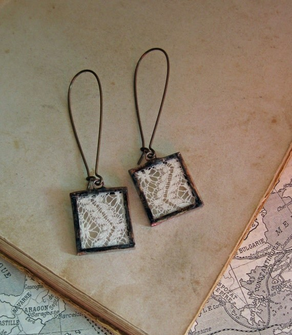 Boho Lace Earrings, Wedding Jewelry, Long Arched Earwires