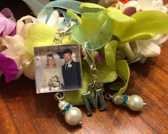 Something Blue Custom Bouquet Charm with a Pearl Drop - Pick your color