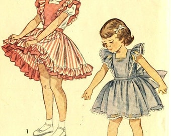 Vintage Simplicity 2822 Toddler Girls Pinafore, Sundress and Panties Sewing Pattern Size 2
