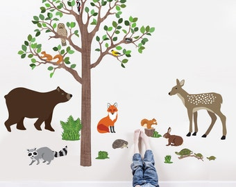Wall Decal Woodland Animals and 7 Ft Tree Fabric Wall Decals, Peel and Stick Removable and Reusable Eco-friendly Wall Stickers