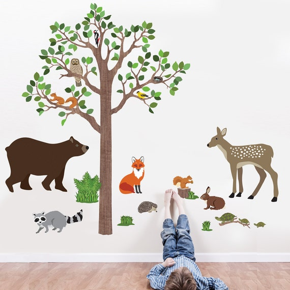 Woodland mural tree wall decal animal wall decal forest mural for Animal wall mural