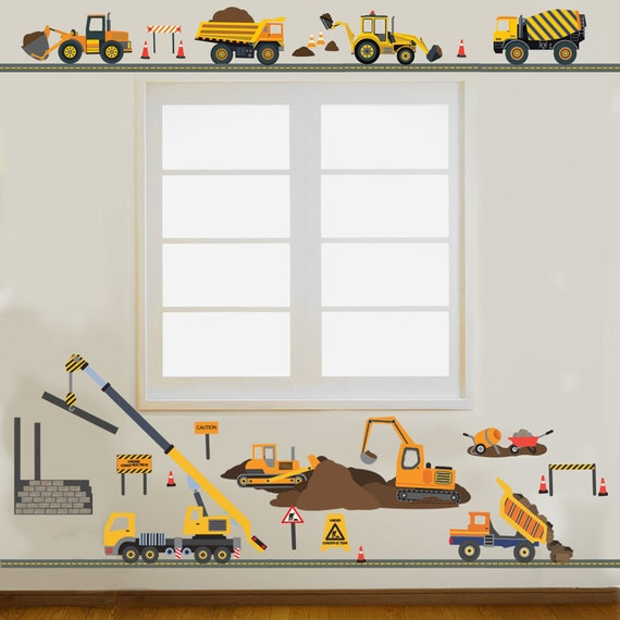 Construction decals site trucks wall decals plus 4 new for Construction site wall mural