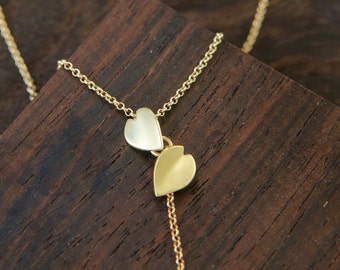 Cherry Blossom 18k Necklace, Yellow Gold Necklace, Sakura Japanese Jewelry, Solid Gold