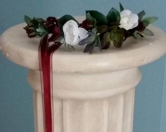 Succulent Flower Crown Ivory burgundy Bridal halo party silk floral vineyard garland marsala accessories flower girl wine hair wreath