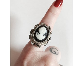 Vintage Cameo Statement Adjustable Ring