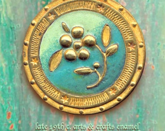 Button--Large Arts & Crafts Late 19th C. Verdigris-hued Enamel on Brass Floral