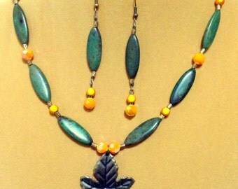 Sale   Jade Green and Orange Fall Color Leaf Necklace / Fall Necklace / Jade green necklace/ Gemstone Necklace /