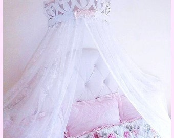 Shabby Rose Princess Heart Bed Crown Canopy...Color Choices, Girls Room  Nursery