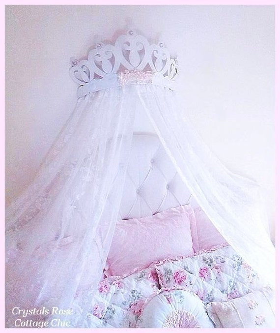 Like this item?  sc 1 st  Etsy & Shabby Rose Princess Heart Bed Crown Canopy...Color Choices