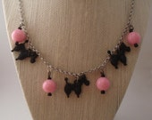 Poodle Promenade Novelty Vintage Inspired Necklace And Earring Fakelite Bakelite Style Set Retro Mid Century Fun by Red Hot Kitten