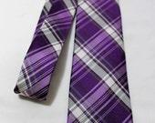 Vintage CALVIN KLEIN Silk Blend Necktie, Purple & Gray Plaid, Skinny Tie