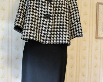 Early 90s KASPER Retro Swing Style Skirt Suit, Size 4P, Black & White Houndstooth