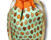 """Acorns - """"One Skein"""" Project Bag for Knitting, Crochet, Cross Stitch or Embroidery"""