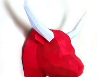 Bull 3d papercraft. You get a PDF digital file with pattern, templates and instructions for this DIY (do it yourself) wall paper sculpture.