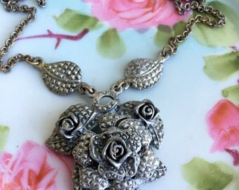 Antique Art Deco Layered Flower Rose Pendant Faux Marcasite Textured
