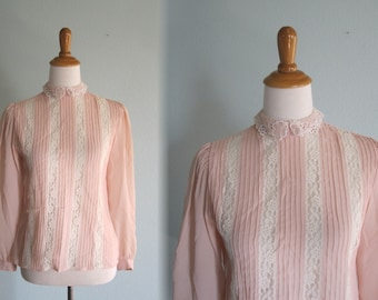 Vintage 1980s Blouse - Pretty Blush Pink Blouse with Lace Insets - 80s Sheer Back Button Blouse M