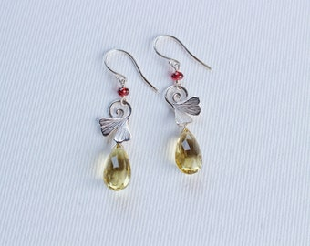 sterling silver earrings whith ginkgo leaf, garnet and lemon quartz drops