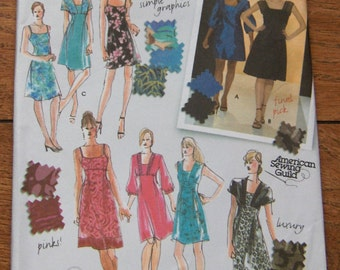 2007 Simplicity pattern 3676 Misses dress in 2 lengths with bodice variations sz 6-8-10-12-14 uncut