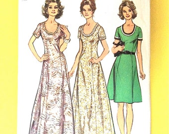 70s Simplicity 5967 Women's Dress Evening Gown Look Slimmer The princess seamed dress  low round neckline Vintage Sewing Pattern Bust 42