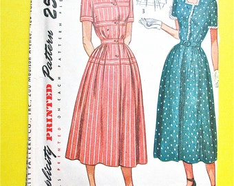 Simplicity 2398 1940s  Misses' One Piece Dress Size 16 Bust 34 front-button closing, gathered skirt  Vintage Sewing Pattern