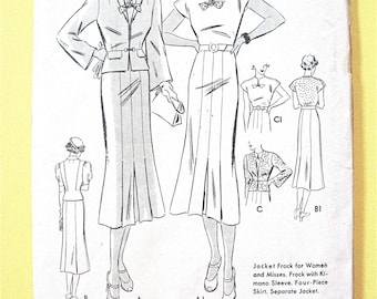 1930s Dress and Jacket Butterick 7231  Looks factory folded, unused Kimono Sleeves, Four-Piece Skirt Vintage Sewing Pattern Bust 36