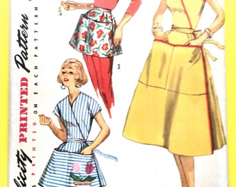 Uncut 1950s Simplicity 1765 ©1956 Misses' and Women's Wrap-Around Dress and Aprons  Vintage Sewing Pattern Bust 34