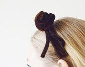 60s Brown Velvet Headband