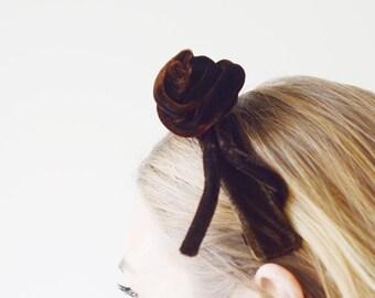 60s Brown Velvet Headband