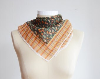 60s/70s Brown Plaid and Floral Scarf