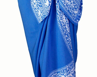 Beach Sarong Pareo Batik Sarong - Sky Blue & White Sarong Pareo Wrap - Womens Clothing Beachwear Wrap Skirt or Dress - Swimsuit Coverup