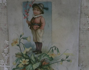 Cute Boy Standing on Colorful Flower Branch-Blank Victorian Trade Card Scrap